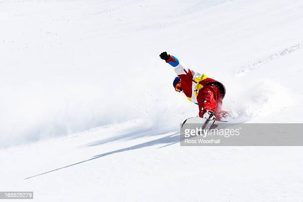 Snowboarder on snowy slope