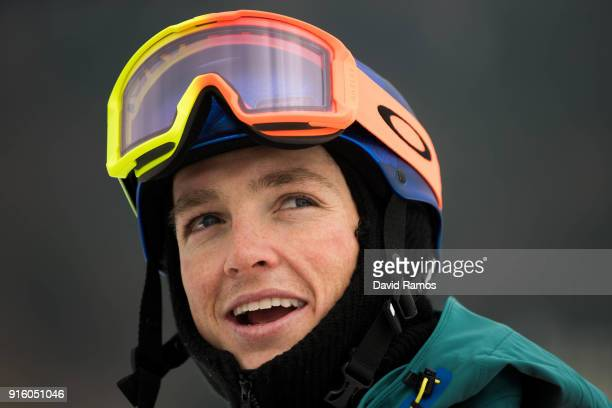 Snowboarder Scotty James of Australia looks on during a training session ahead of the PyeongChang 2018 Winter Olympic Games at Phoenix Snow Park on...