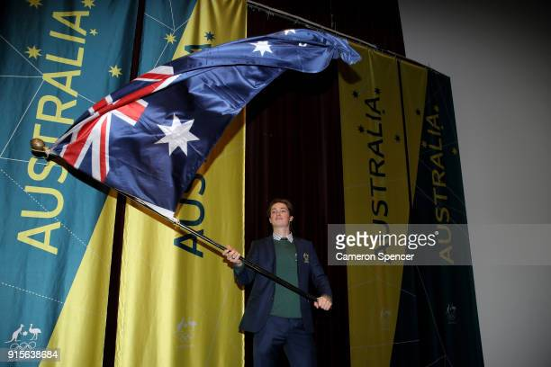 Snowboarder Scotty James of Australia poses after being named Team Australia's flag bearer for the Opening Ceremony of the PyeongChang 2018 Winter...