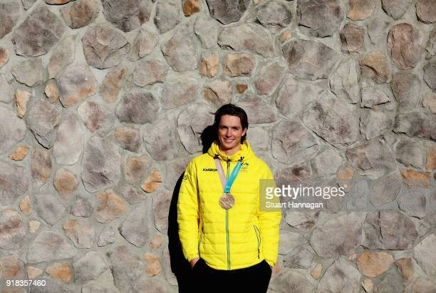 Snowboarder Scotty James of Australia poses with his bronze medal in the Men's Half Pipe on February 15 2018 in Pyeongchanggun South Korea