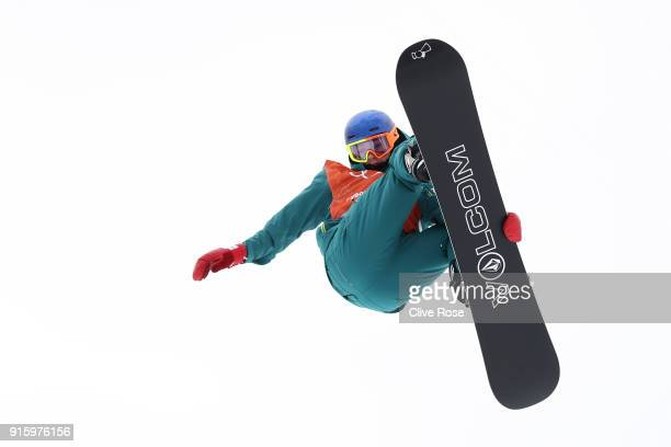 Snowboarder Scotty James of Australia practices ahead of the PyeongChang 2018 Winter Olympic Games at Phoenix Snow Park on February 9 2018 in...