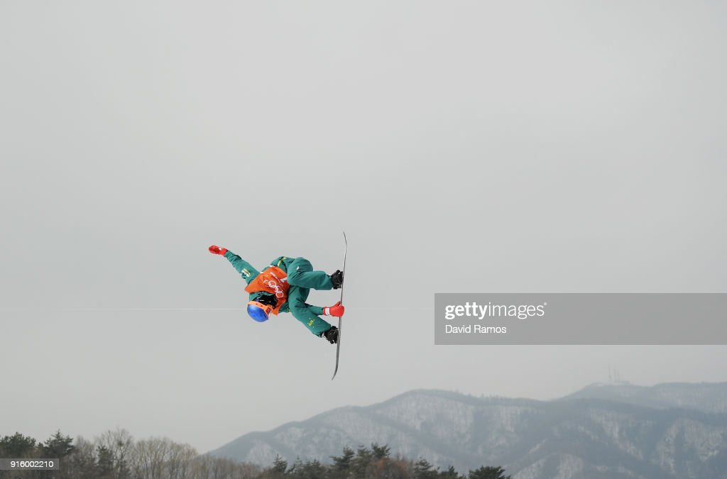 Snowboarder Scotty James of Australia practices ahead of the PyeongChang 2018 Winter Olympic Games at Phoenix Snow Park on February 9, 2018 in Pyeongchang-gun, South Korea.