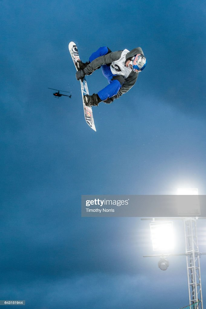 Snowboarder Sebastien Toutant competes during Air + Style Los Angeles 2017 at Exposition Park on February 19, 2017 in Los Angeles, California.