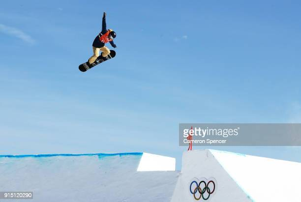 Snowboarder Seppe Smits of Belgium during the Snowboard practice session during previews ahead of the PyeongChang 2018 Winter Olympic Games at...