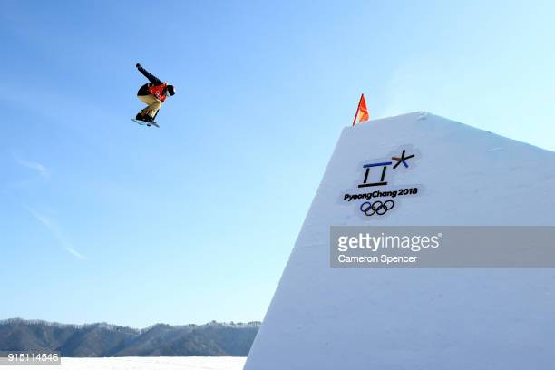 Snowboarder Seppe Smits of Belgium trains during the Snowboard practice session during previews ahead of the PyeongChang 2018 Winter Olympic Games at...