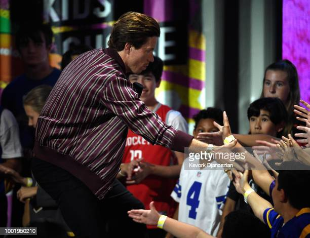 Snowboarder Shaun White accepts the Winter Wonders award onstage during the Nickelodeon Kids' Choice Sports 2018 at Barker Hangar on July 19 2018 in...