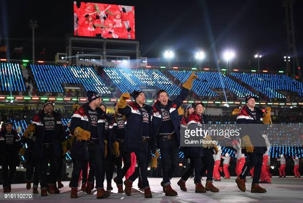 Snowboarder Shaun White and the United States Olympic team walk in the Parade of Athletes during the Opening Ceremony of the PyeongChang 2018 Winter...