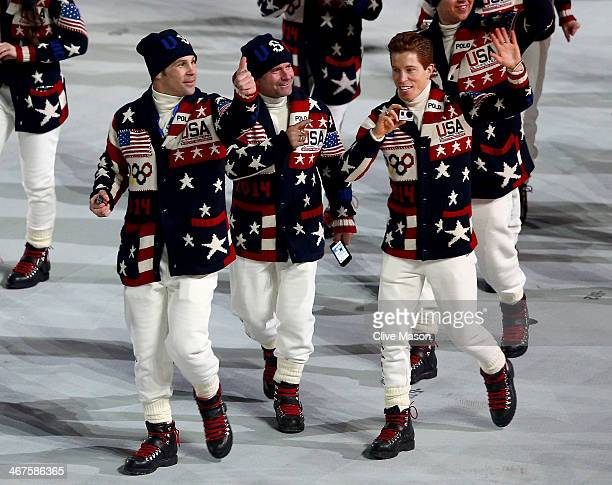 Snowboarder Shaun White of the United States Olympic team enters the Opening Ceremony of the Sochi 2014 Winter Olympics at Fisht Olympic Stadium on...
