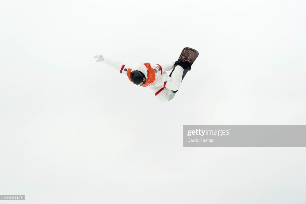 Snowboarder Shaun White of the United States practices ahead of the PyeongChang 2018 Winter Olympic Games at Phoenix Snow Park on February 9, 2018 in Pyeongchang-gun, South Korea.