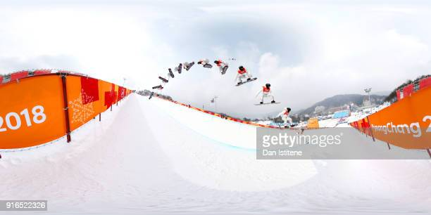 Snowboarder Shaun White of the United States takes part in a half pipe training session on day one of the PyeongChang 2018 Winter Olympic Games at...