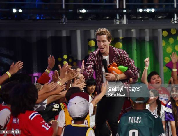 Snowboarder Shaun White speaks onstage during the Nickelodeon Kids' Choice Sports 2018 at Barker Hangar on July 19 2018 in Santa Monica California