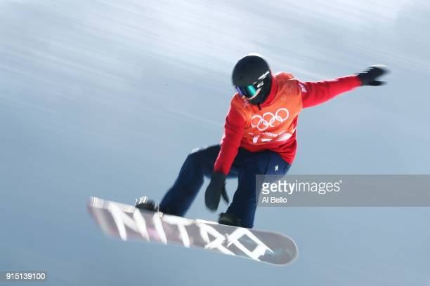 Snowboarder Silje Norendal of Norway trains during the Snowboard practice session during previews ahead of the PyeongChang 2018 Winter Olympic Games...