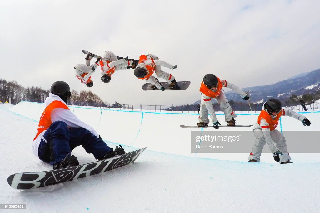 Snowboarder Taku Hiraoka (L) of Japan looks to Snowboarder Arielle Gold of the United States as they practice ahead of the PyeongChang 2018 Winter Olympic Games at Phoenix Snow Park on February 9, 2018 in Pyeongchang-gun, South Korea.