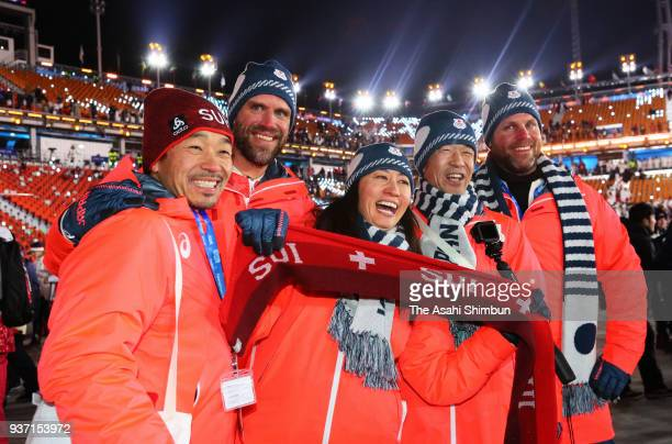 Snowboarder Tomoka Takeuchi of Japan enjoys the atmosphere during the Closing Ceremony of the PyeongChang 2018 Winter Olympic Games at PyeongChang...