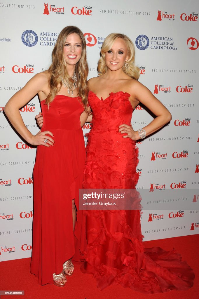 Snowboarder Torah Bright and Olympic gymnast Nastia Liukin attend The Heart Truth 2013 Fashion at Hammerstein Ballroom on February 6, 2013 in New York City.