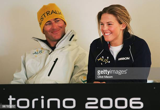 Snowboarder Torah Bright of Australia speaks during a press conference with Andrew Burton prior to the Turin 2006 Winter Olympic Games on February 8...