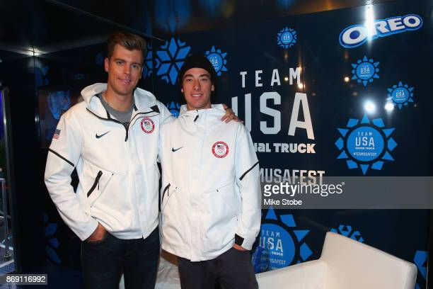 Snowboarders Alex Deibold and Chase Josey attend the 100 Days Out 2018 PyeongChang Winter Olympics Celebration Team USA in Times Square on November 1...