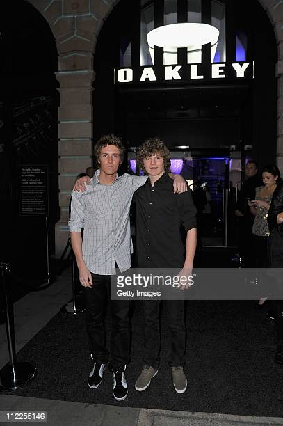 Snowboarders Ben Kilner and Jamie Nicholls attend the launch of the new Oakley OStore in Covent Garden on April 15 2011 in London England