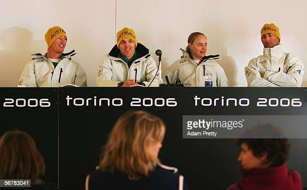 Snowboarders Mitchell Allan Ben Mates Holly Crawford and Andrew Burton of Australia speak during a press conference prior to the Turin 2006 Winter...