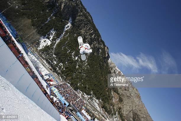 Snowboarding 2006 Winter Olympics Australia Andrew Burton in action during Halfpipe Qualification Run 1 2 at Bardonecchia Alta Val di Susa Italy...