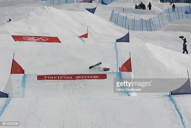 Snowboarding 2006 Winter Olympics USA Lindsey Jacobellis in action wiping out during Ladies' Snowboard Cross Final fall at Bardonecchia Alta Val di...