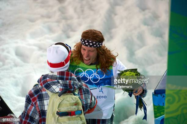 2010 Winter Olympics USA Shaun White victorious after winning Men's Halfpipe Final gold at Cypress Mountain West Vancouver Canada 2/17/2010 CREDIT Al...