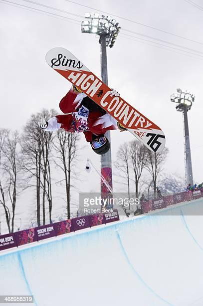 2014 Winter Olympics Canada Derek Livingston in action during Men's Snowboard Halfpipe at Rosa Khutor Extreme Park Krasnaya Polyana Russia 2/11/2014...