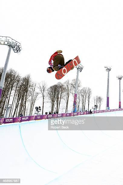 2014 Winter Olympics Switzerland Christian Haller in action during Men's Snowboard Halfpipe at Rosa Khutor Extreme Park Krasnaya Polyana Russia...