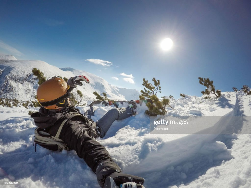 Accidente de Snowboarding : Foto de stock