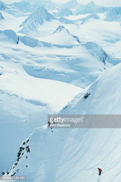 snowboarding, chugach mountains, alaska, usa, elevated view - chugach state park stock pictures, royalty-free photos & images