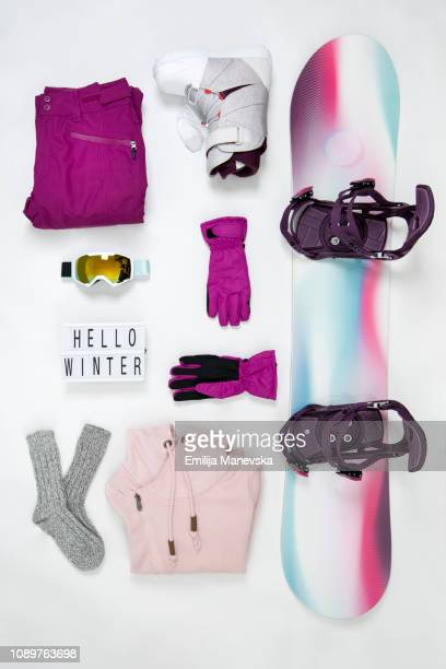 snowboarding equipment. knolling concept - knolling concept stock pictures, royalty-free photos & images