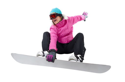 Snowboarding girl with a clipping path - gettyimageskorea