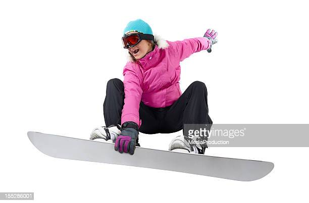 Snowboarding girl with a clipping path