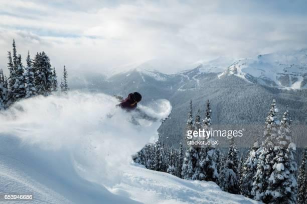 Snowboarding in fresh powder