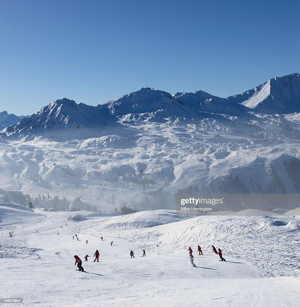 Snowboarding in La Plagne, France : Stock Photo