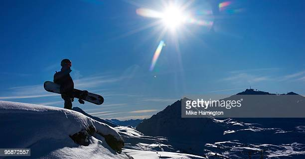 snowboarding, la plagne, france. - la plagne stock photos and pictures