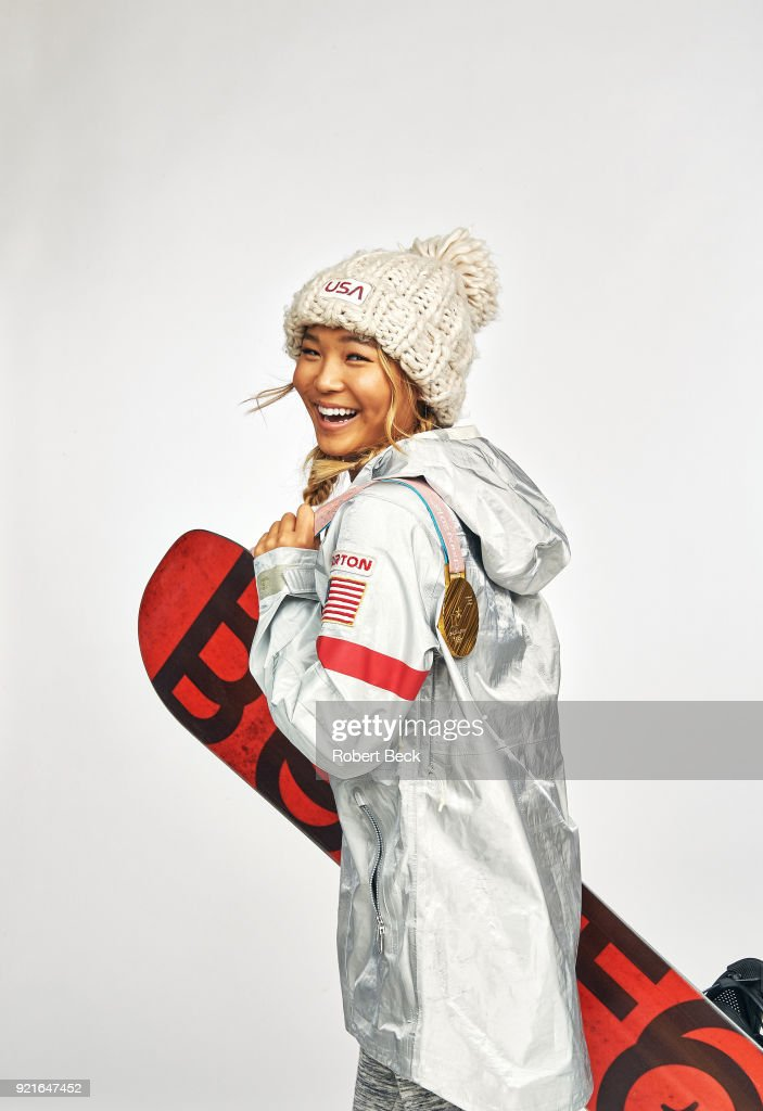 Portrait of USA Chloe Kim posing during photo shoot at Los Coyotes Country Club. Kim won gold in the Women's Halfpipe during the 2018 Winter Olympics in PyeongChang. Robert Beck TK1 )