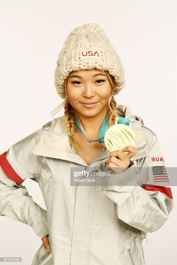 Portrait of USA Chloe Kim posing with gold medal during photo shoot at Los Coyotes Country Club. Kim won gold in the Women's Halfpipe during the 2018 Winter Olympics in PyeongChang. Cover. Robert Beck TK1 )