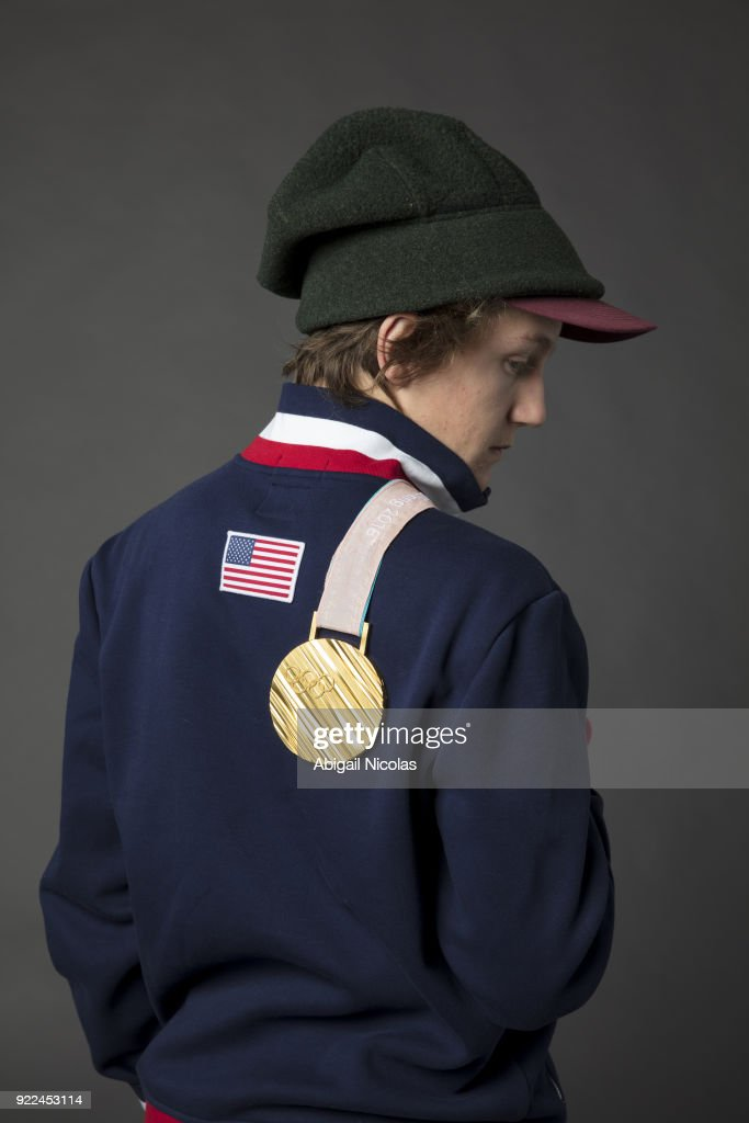 Portrait of USA Red Gerard posing with gold medal during photo shoot at Time Inc. Studios. Gerard won gold in the Men's Slopestyle during the 2018 Winter Olympics in PyeongChang. Abigail Nicolas TK1 )