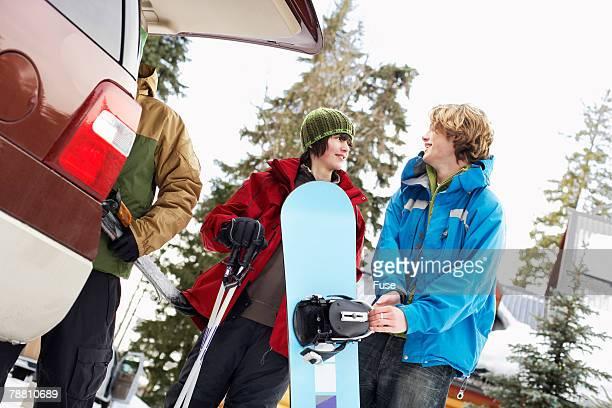 Snowboarding Unloading Vehicle