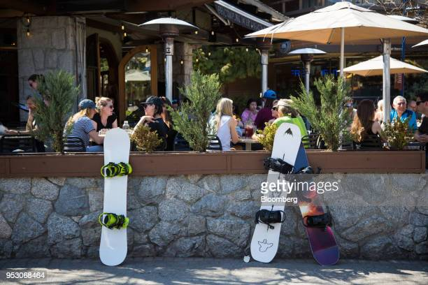 Snowboards sit outside a restaurant in Whistler Village in Whistler British Columbia Canada on Friday April 27 2018 The cost of a typical home in...