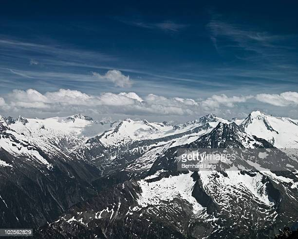 Snow-capped alpine mountains
