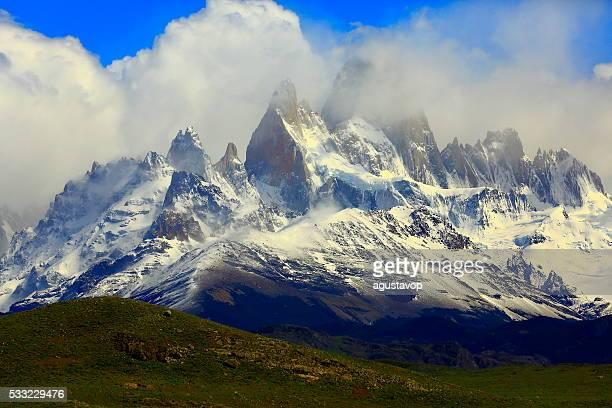 Snowcapped Andes: Cerrto Torre & Fitzroy,  Chalten, Patagonia, Los Glaciares