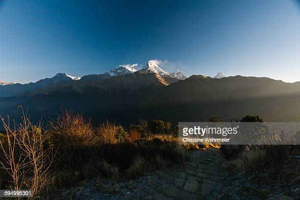 snowcapped annapurna - christine wehrmeier stock pictures, royalty-free photos & images