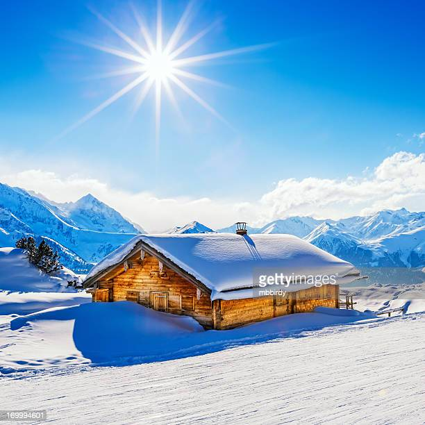 Snowcapped cottage in winter