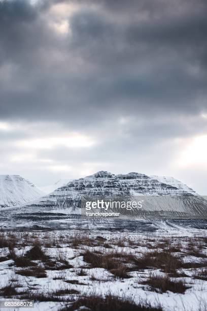 snowcapped mountain in east iceland