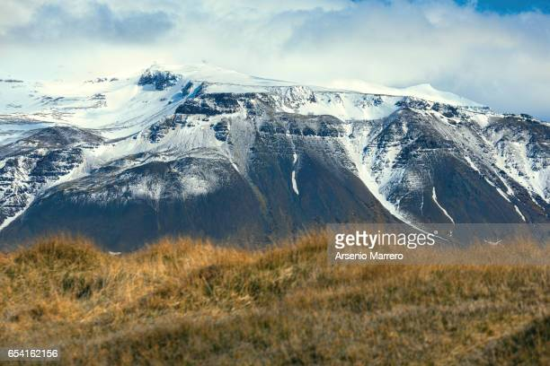 Snowcapped mountain in south Iceland
