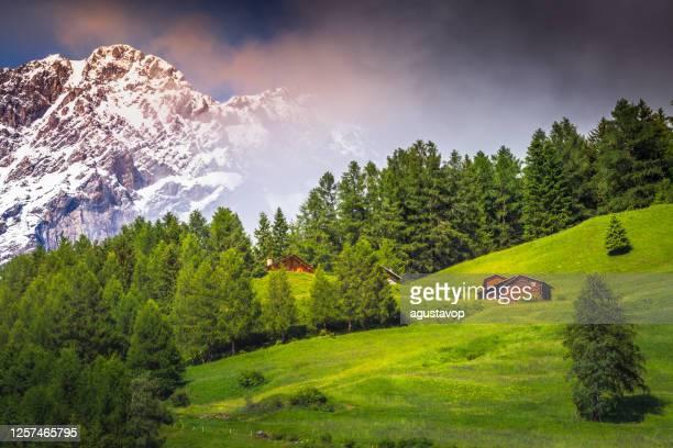 montagna innevata nel parco nazionale dello stelvio con chalet e fienili - valfurva, alpi italiane - valle d'aosta foto e immagini stock