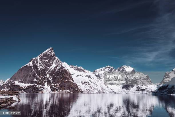 snowcapped mountain in winter - lofoten stock pictures, royalty-free photos & images
