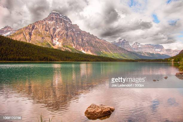 Snowcapped mountain reflecting in lake